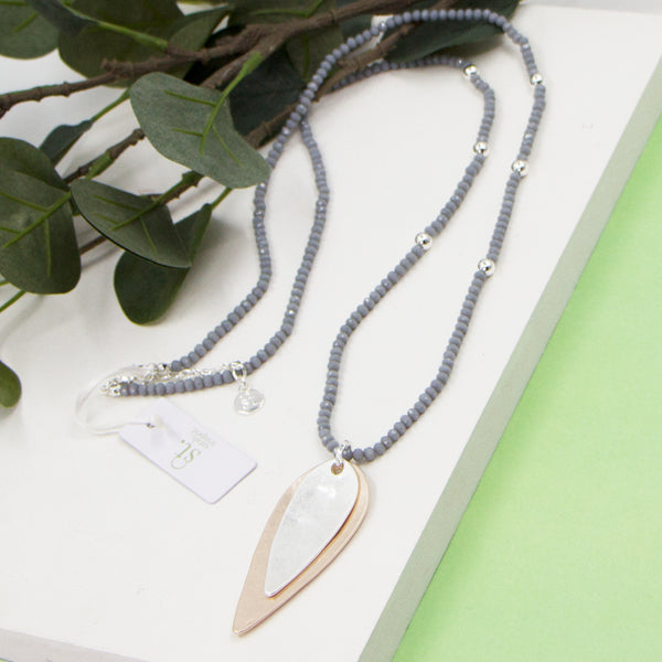Grey suede long necklace with agate beads and elongated oval shape pendant