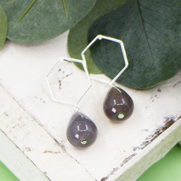 Hexagon shape earrings with grey agate drops