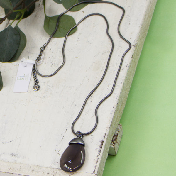Grey agate pendant on long snake chain necklace