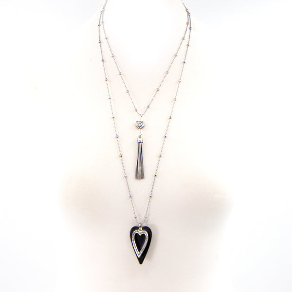 Double layer ball chain necklace with heart and tassel pendant