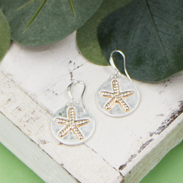 Starfish imprint circles on fish hook earrings
