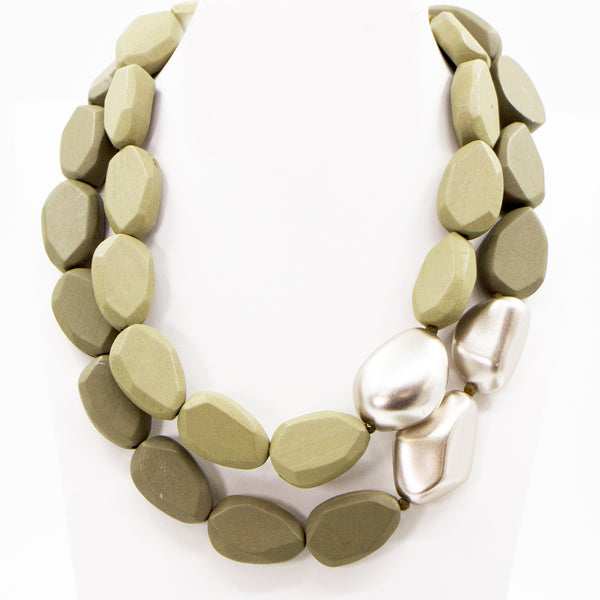 Wooden bead statement necklace with metallic accent beads