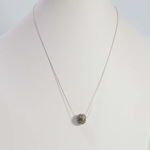 Delicate short simple chain necklace with diamante ball