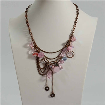 Vintage necklace with draping chains & cut glass