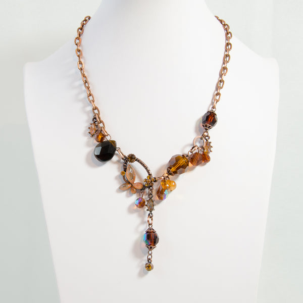 Vintage style beaded necklace with butterfly detail