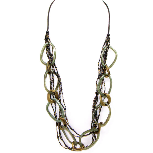 Multi strand bead necklace with sea green open resin and gold open link components