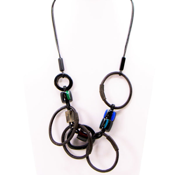 Random resin and loops necklace on adjustable wax cord