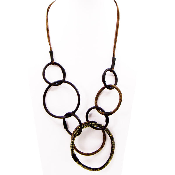 Varied textural leather and PU hoops long necklace