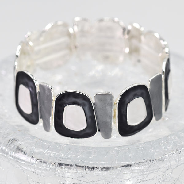 Organic circle and square design enamel stretchy bracelet