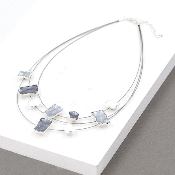 Square enamel components on multi wire necklace