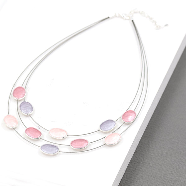 Circle enamel components on multi wire necklace