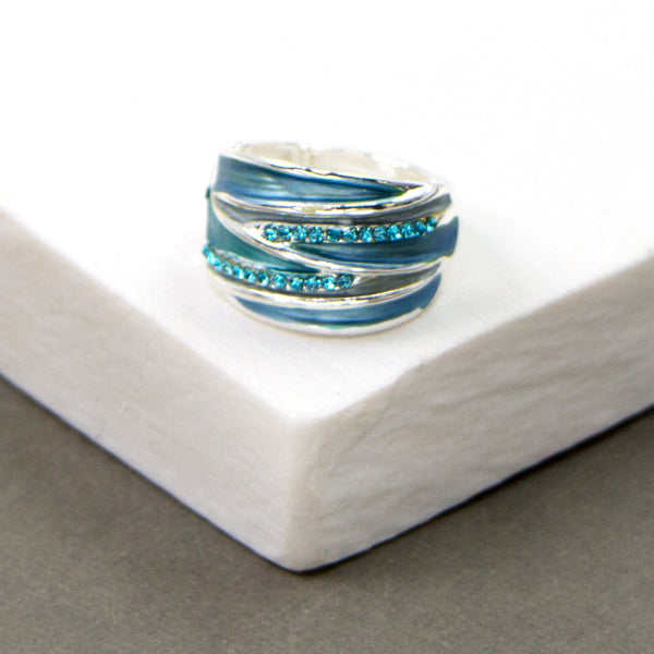 Blue tones contemporary stretchy enamel ring