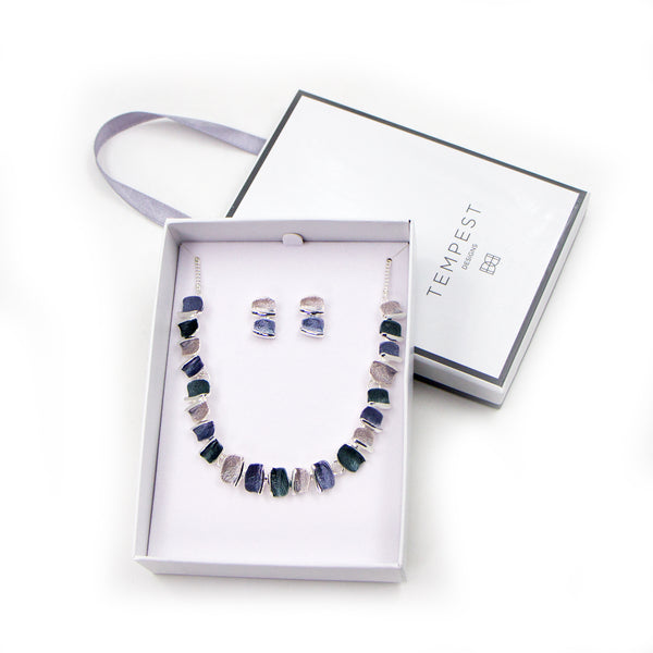 Simple contemporary enamel necklace and earrings set with gift box