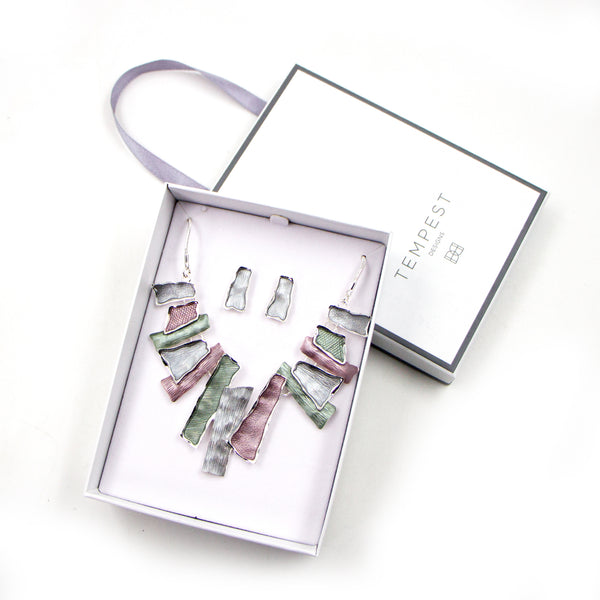 Organic enamel rectangle design necklace and earring set
