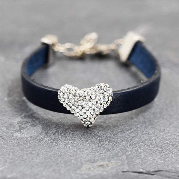 Leather bracelet with crystal diamante heart feature