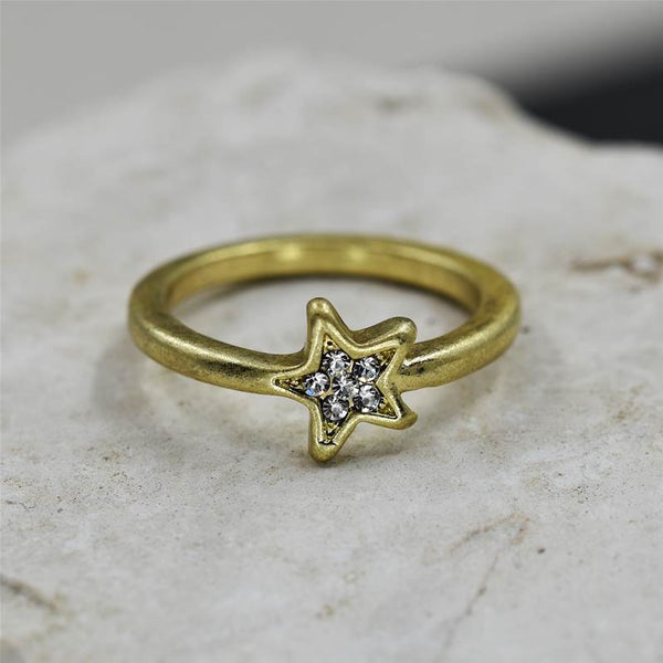 Matt gold little star ring with crystal
