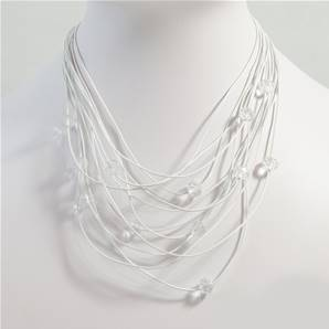 Multistrand leather necklace interspaced with cut glass