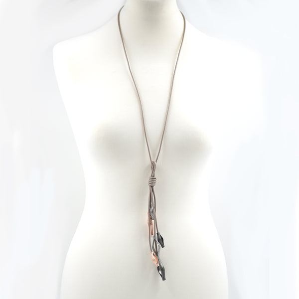 Stipled effect open tube droppers on long leather necklace
