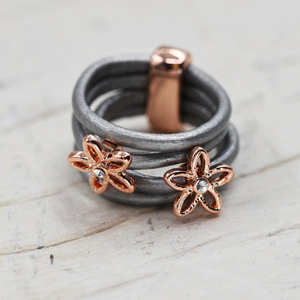 Multistrand leather ring with twin flower detail & crystals