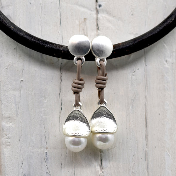 Faux pearl drop earrings with leather detail