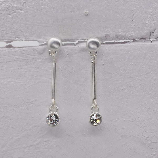 Matte Silver Post Bar Drop Earrings with crystal Detail