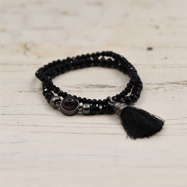 Matt Gun Metal Black and Grey Bead Detail Tassel Bracelet