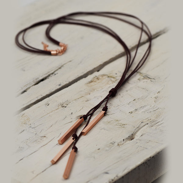 Matt Rose Gold and Dark Red leather Knot Strand Necklace