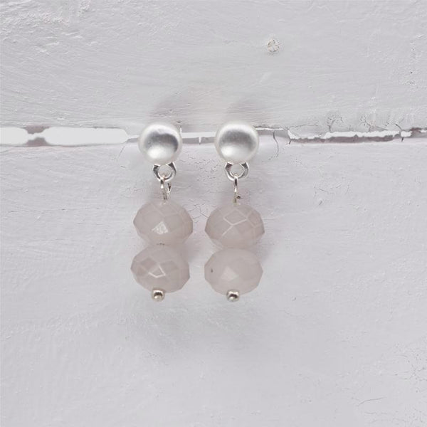 Matt Silver and Taupe Double Beaded Delicate Earring