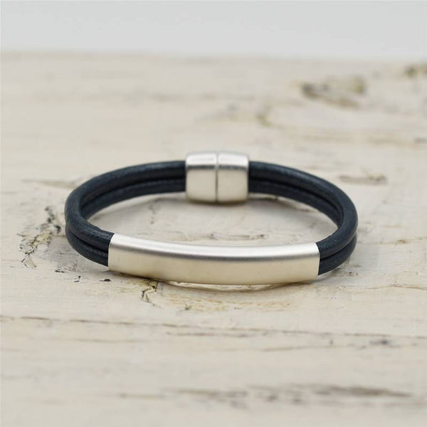 Matt Silver and Metallic Blue Leather Bracelet 19cm
