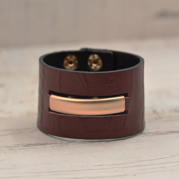Matt Gold Bar through Red Leather Cuff Bracelet 19cm