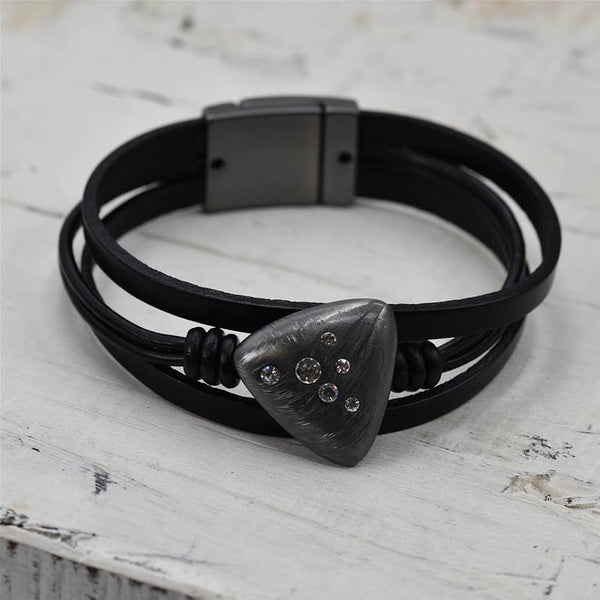Triangle crystal burst component leather cuff