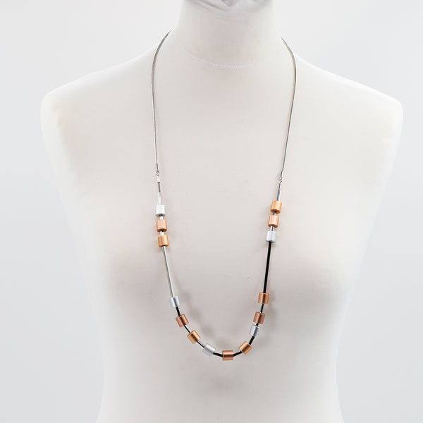 High quality cylindrical mid length necklace with tube space