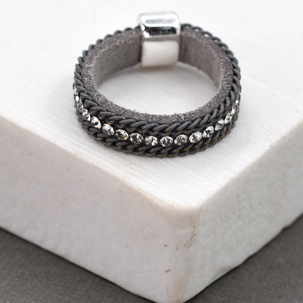 Multi strand ring with crystalsÊ