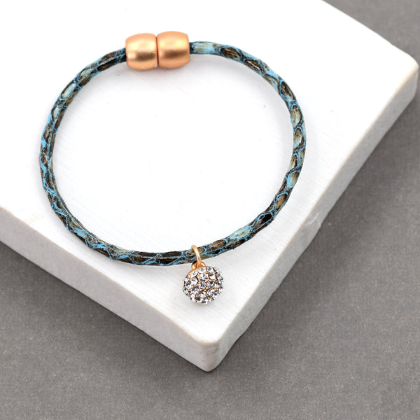 Animal print bracelet with crystal charm