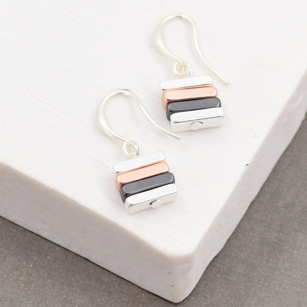 Fish hook earrings with square charm drop