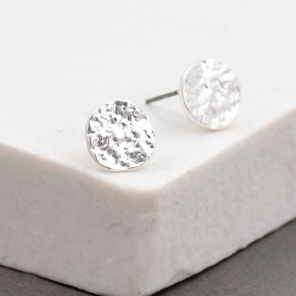 Soft hammered disc stud earrings