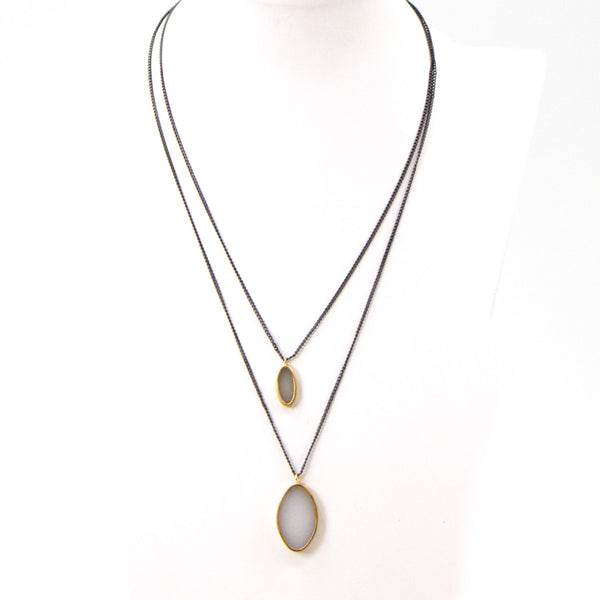Double strand contemporary resin necklace