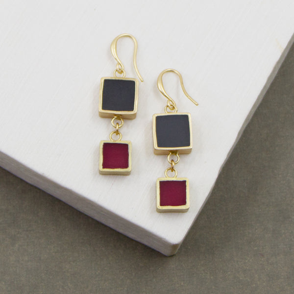 Contemporary double square inlay earrings