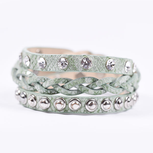 Plait, stud and crystal detail wraparound bracelet