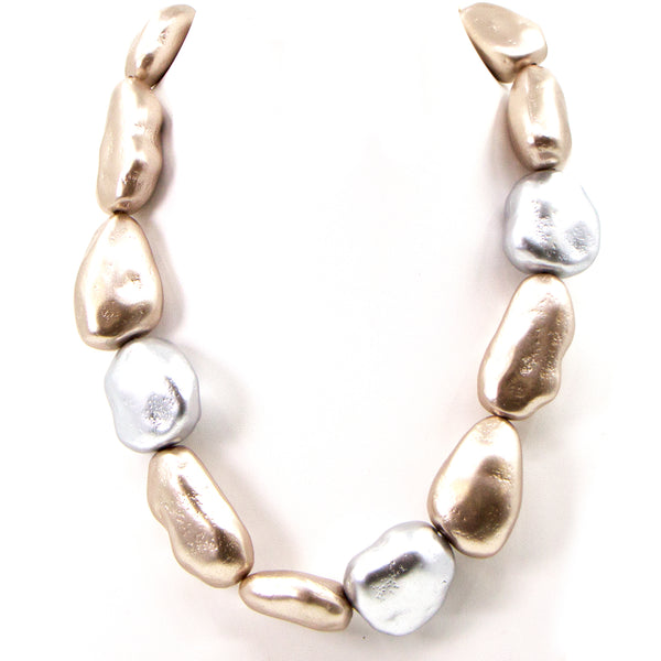 Random shape silver and gold pearl short statement necklace