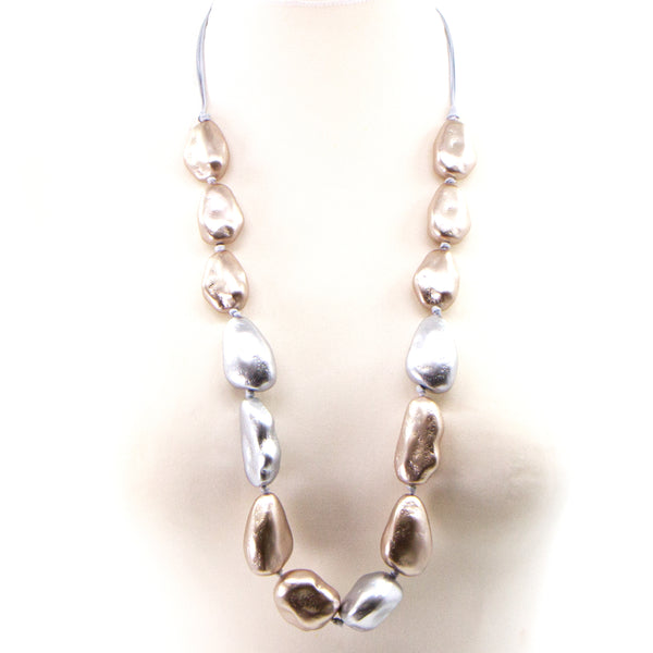 Random shape silver and gold pearl long statement necklace