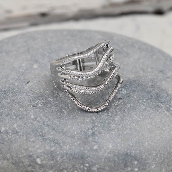 Waved layered style stretchy ring with crystals