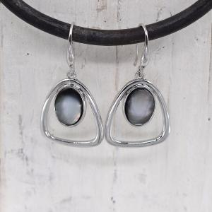 Rhodium open oval shaped drop earrings with opal stones
