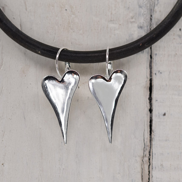 Stylised heart drop earrings