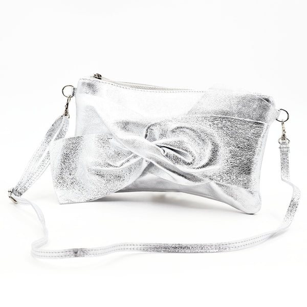 Bow like Italian leather clutch cross body bag