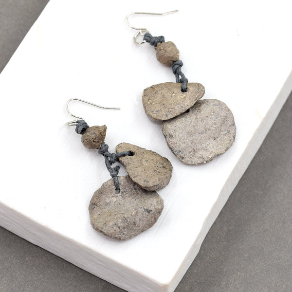 Recycled round wavy paper components and twine earrings