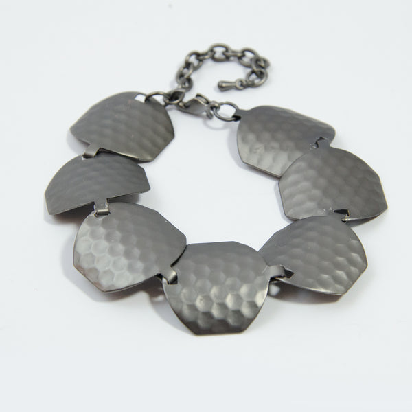 Hexagon shape matt metal component bracelet