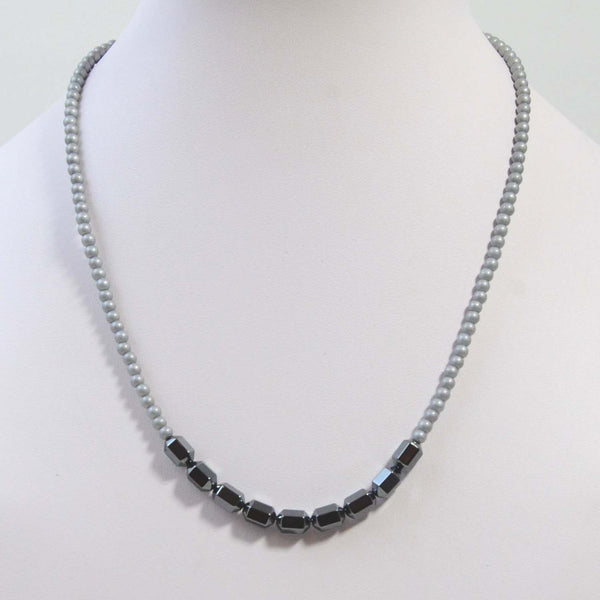 Simple dainty necklace with hemetite central beads