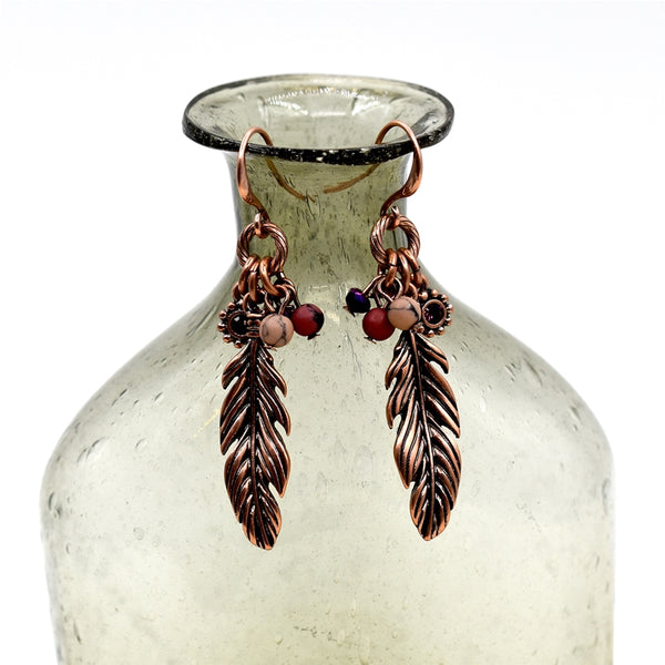 Feather pendant drop earrings with crystals & beading