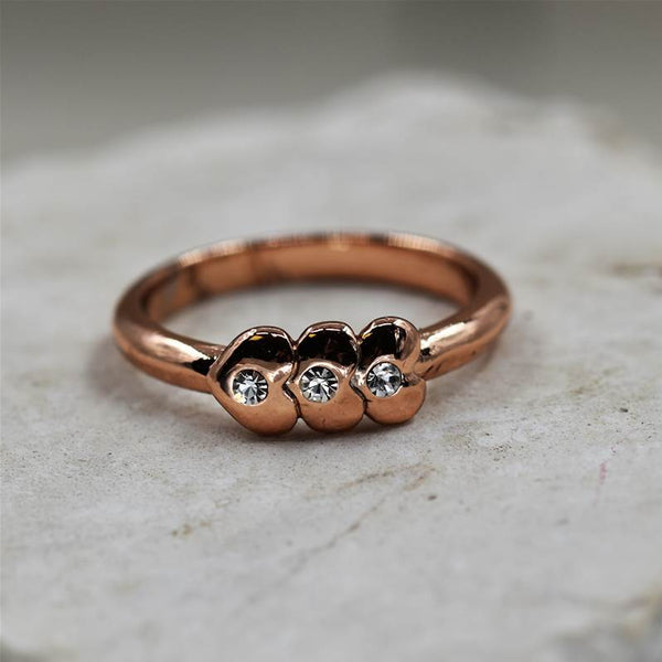 Triple mini rose gold heart ring with diamante centres
